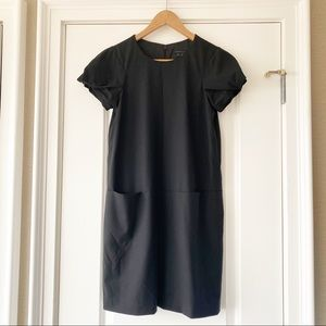 Theory Marigo Pintucked Black Wool Shift Dress 2